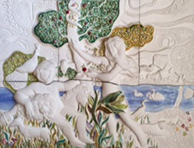 Garden of Eden Ceramic Sculpture 37x46