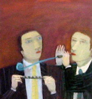 Businessmen, Party Favors Suite of 2 1991 16x26 ea Original Painting - Ann Chamberlin