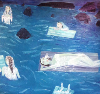 Floating Brides 1993 16x17 Original Painting - Ann Chamberlin
