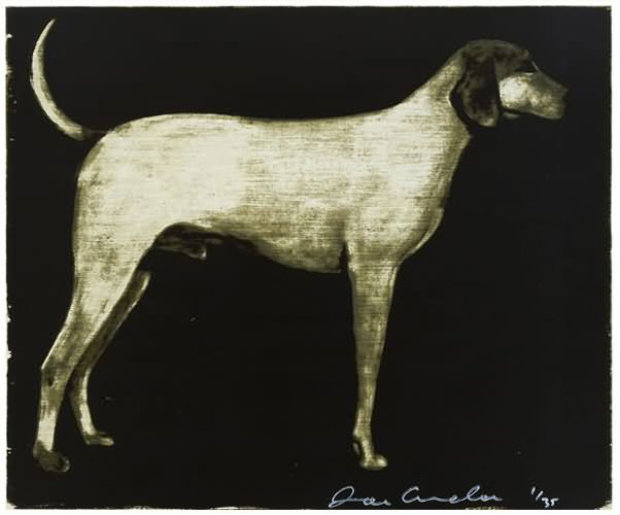 Medium Dog (Olive, Rust, and Burgundy) 1998