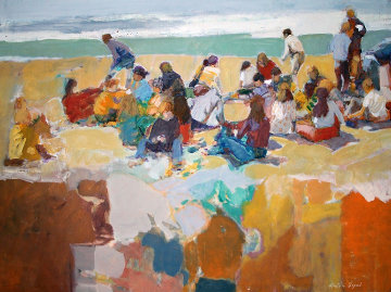At the Beach 1973 30x40 Original Painting - Anton Sipos