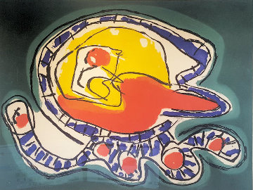 Large Green Etching 1976 Limited Edition Print - Karel Appel