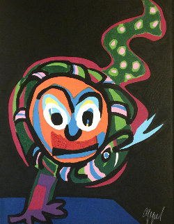 Clown With Snake #14 1978 Limited Edition Print - Karel Appel