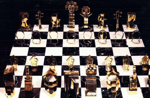 Chess Game (Collaboration Arman And Boisgontier) Bronze and Marble Sculpture 1986