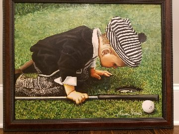 Young Golfer Original Painting - Thomas Arvid