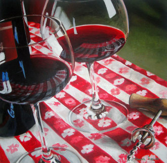 Red Wine Is Meant to Be Shared 1996 39x39 Original Painting - Thomas Arvid