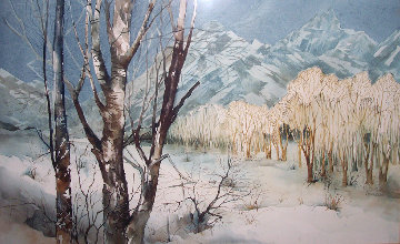 Winter Desert Landscape Watercolor 20x30 Watercolor - Michael Atkinson
