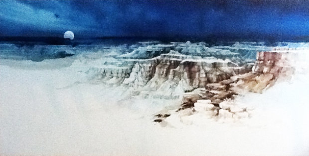 Untitled Southwest Landscape Watercolor 48x96