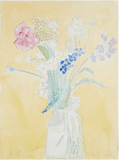 Untitled Watercolor (Still Life With Yellow Background) 1987 24x18 Works on Paper (not prints) - Sally Michel Avery