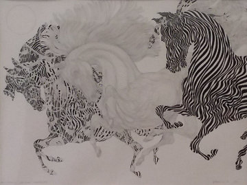 Trois Montures Essai 2009 Sur Fond Arnaud 2009 Drawing 35x30 Drawing - Guillaume Azoulay