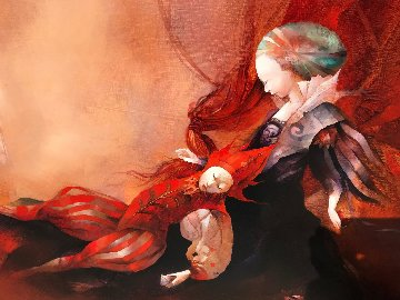 Le Silence Sur Tes Reves (The Silence of Your Dreams) 2001 40x63 Original Painting - Anne Bachelier