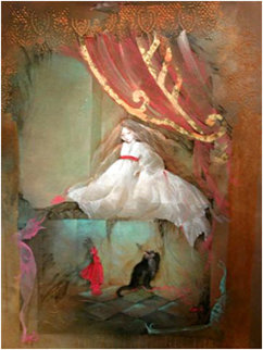 Waking 2005 47x37 Original Painting - Anne Bachelier