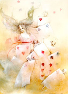 Alice with Cards 2005 12x9 Original Painting - Anne Bachelier