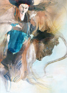 Untitled Watercolor 39x27 Original Painting - Anne Bachelier