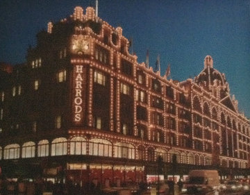 Harrods in London  2009 53x42 Original Painting - Darren Baker