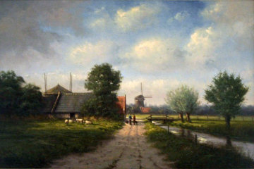 Pastoral Dutch Landscape with Windmill 2007 24x36 Original Painting - Simon Balyon