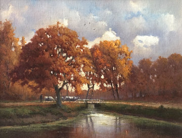 Autumn Afternoon 17x20 Original Painting - Andre Balyon