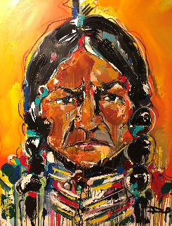 Sitting Bull 2012 51x40 Original Painting - David Banegas