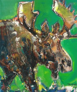 Moose 2012 51x45 Original Painting - David Banegas