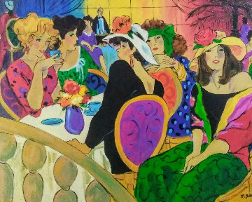 Brunch At the Plaza 1974 28x32 Watercolor - Marcia Banks