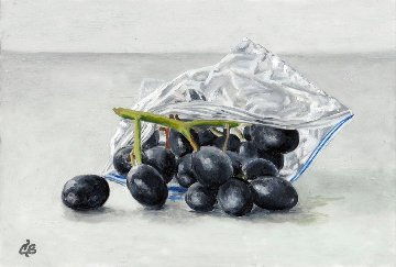 A Baggie of Grapes 2016 11x9 Original Painting - Camille Barnes