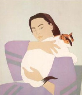 Woman and White Cat  1971 Limited Edition Print - Will Barnet