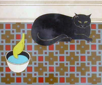 Cat and Canary 1980 Limited Edition Print - Will Barnet