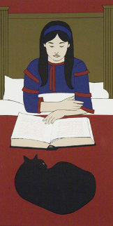 Child Reading Red 1970 Limited Edition Print - Will Barnet