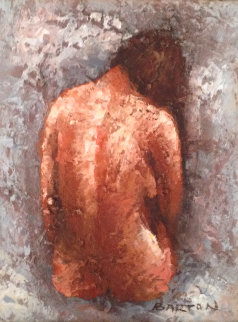 Seated Female Nude 15x13 Original Painting - Edward Barton