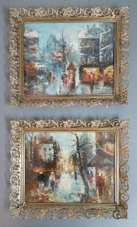 Paris Cityscapes, Set of 2 Paintings 1960 10x12 Original Painting - Edward Barton