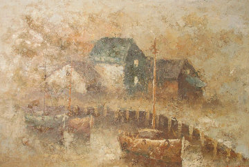 Untitled Wharf Series 1980 70x101 Mural Original Painting - Edward Barton