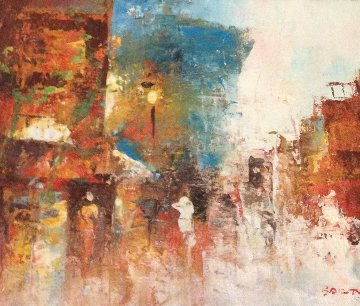 Cityscapes, Two Paintings 6x9 Original Painting - Edward Barton
