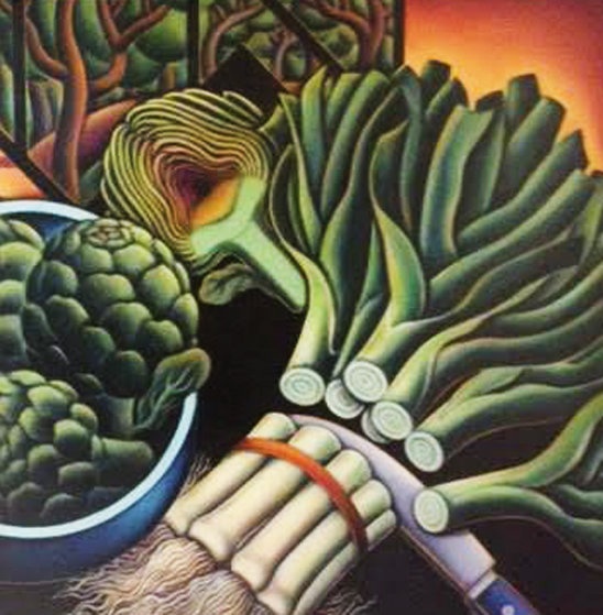 Still Life With Leeks And Artichokes 1994 31x31