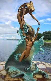 Dancing With Waves Bronze Sculpture 1987 23 in Sculpture - Angelo Basso