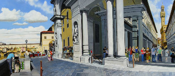 Waiting in Line At the Uffizi, Florence 2005 29x63 Original Painting - Matthew Bates