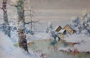 Snowy Homestead 30x42 Original Painting - Willi Bauer
