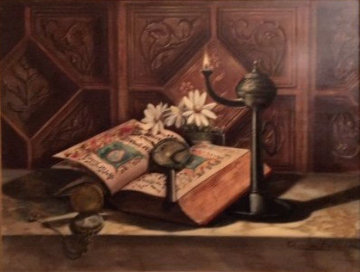 Untitled Still Life 28x32 Original Painting - Charles Becker