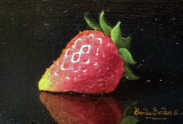 Sensual Strawberry 2010 8x11 Original Painting - Charles Becker