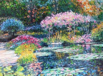 Giverny Lily Pond Embellished 2010 Limited Edition Print - Howard Behrens