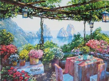Table For Two in Capri 2010 Embellished Limited Edition Print - Howard Behrens