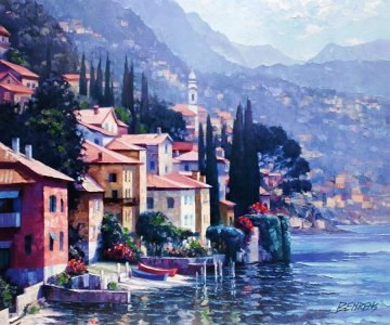 Impressions of Lake Como 2010 Embellished Limited Edition Print - Howard Behrens