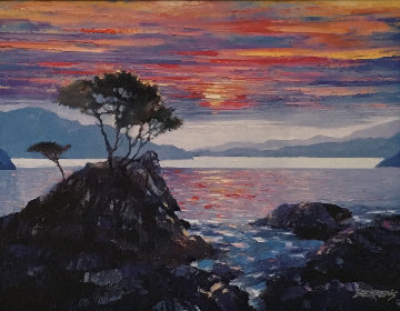 Sunset At the Lone Cypress 2011 Embellished Limited Edition Print - Howard Behrens