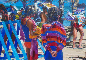 Two Girls on Beach 1981 37x45 Original Painting - Howard Behrens