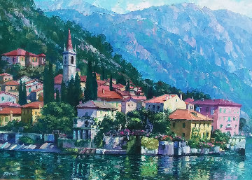 Reflections of Lake Como 2000 Embellished Limited Edition Print - Howard Behrens