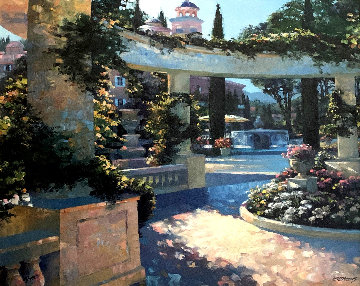Bellagio Garden, Italy Embellished Limited Edition Print - Howard Behrens