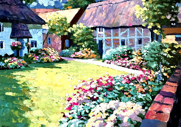 English Garden 1989 Heavily Artist Embellished Limited Edition Print - Howard Behrens
