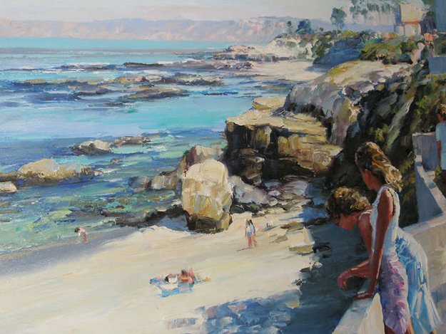 Coast of la jolla california 1990 31x46 by howard behrens for Best way to sell your art online
