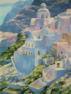 Hillside at Fira 1988 Limited Edition Print - Howard Behrens