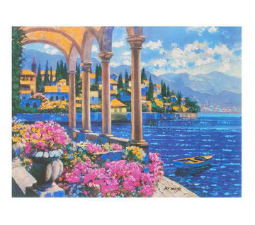 Villa On Lake Como, Italy 2008 Embellished Limited Edition Print - Howard Behrens