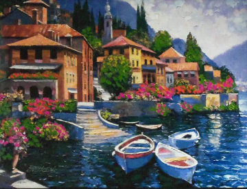 Lake Como Landing, Italy Embellished Limited Edition Print - Howard Behrens